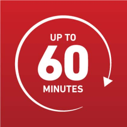 Up to 60 minutes icon