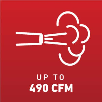 Blow up to 490 CFM