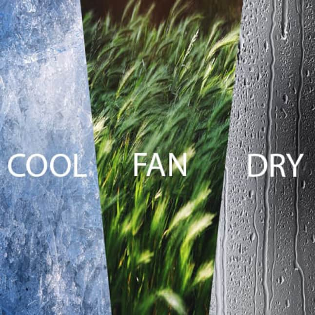 Picture representing 3-in-1 function, reads cool, fan, dry