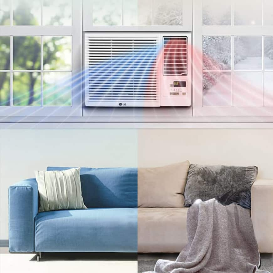 Window air conditioner showing cold air flow on one side and hot on the other in a room with a sofa that is blue on on side and beige on the other