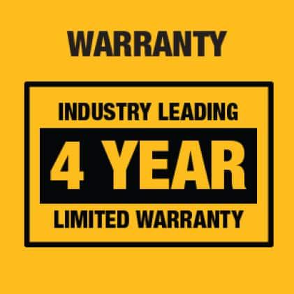 Industry leading 4-Year Warranty