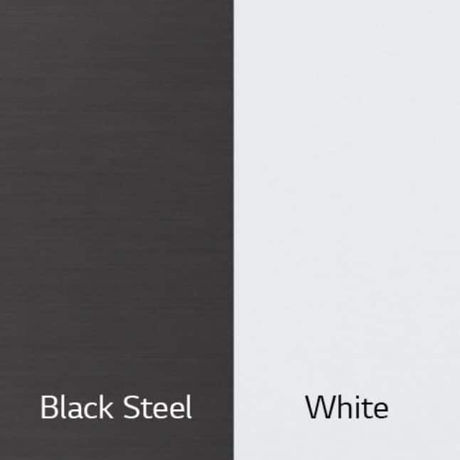 The WashTower is available in White and Black Steel.