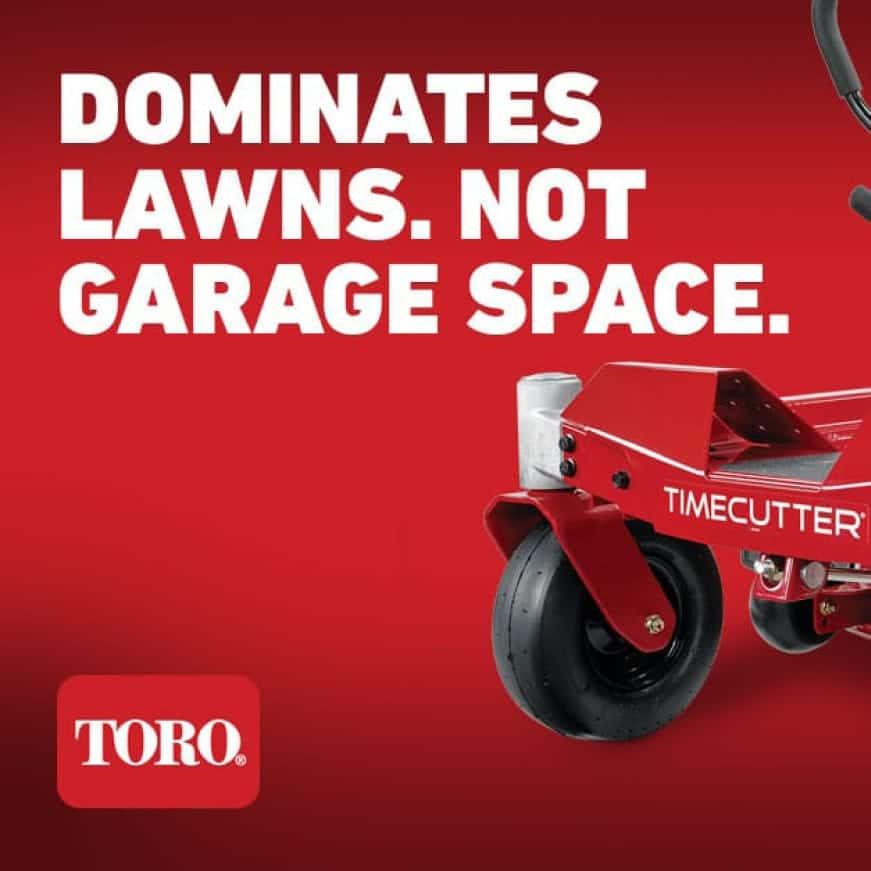 Dominates lawns, not garage space