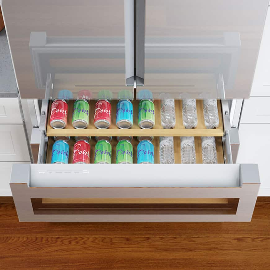 Refreshment center drawer open holding water bottles and cans
