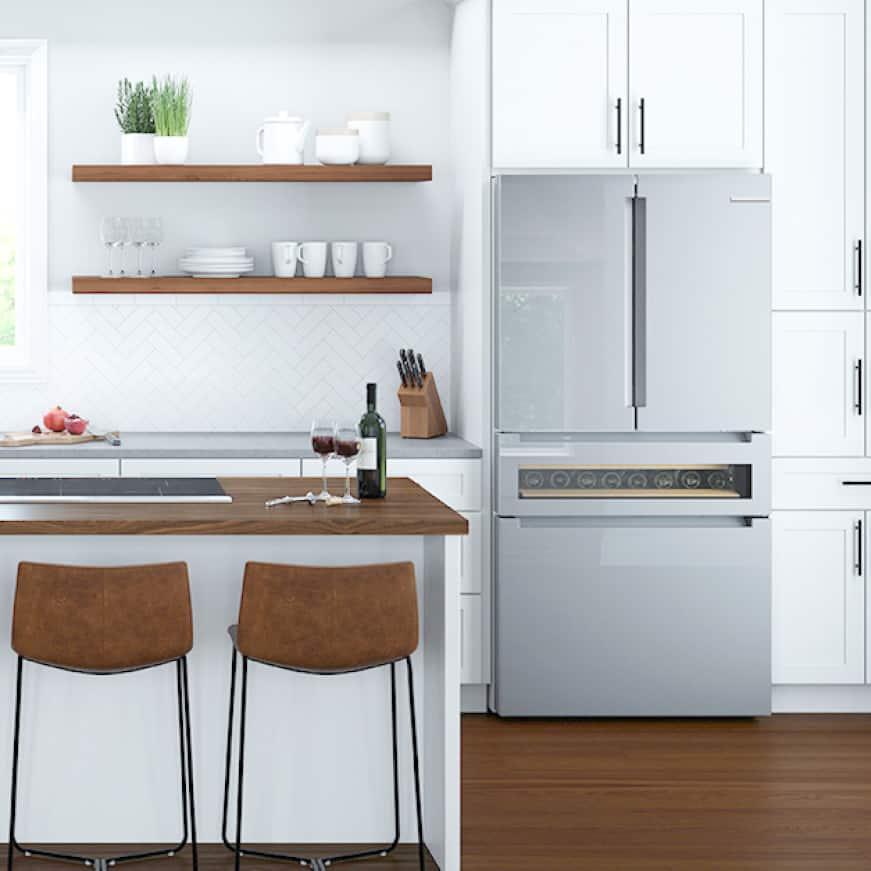 Bosch kitchen with refereshment center refrigerator