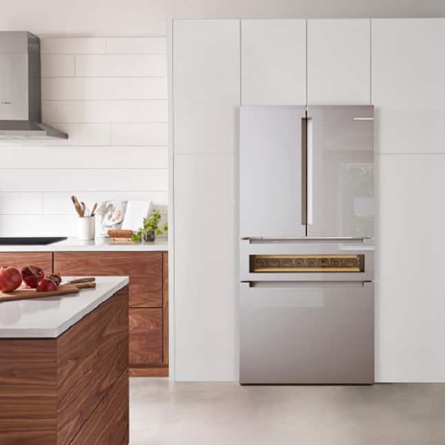 Bosch stainless steel kitchen with refreshment center refrigerator