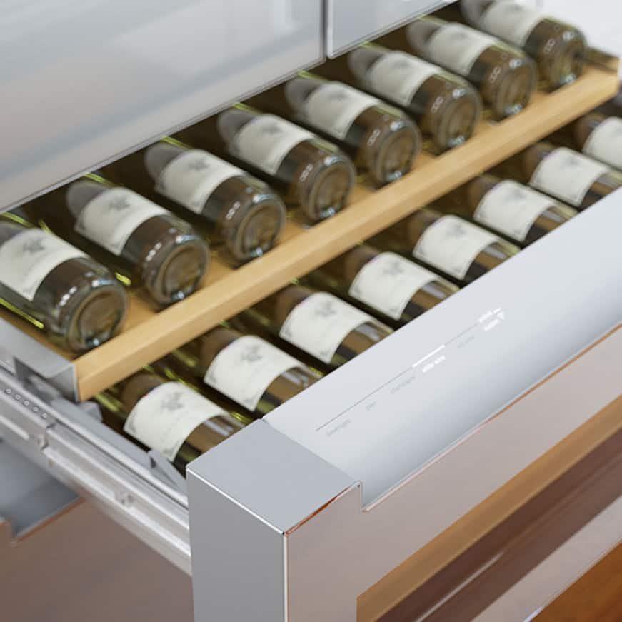 Example of wine bottles in the Bosch refreshment center refrigerator drawer