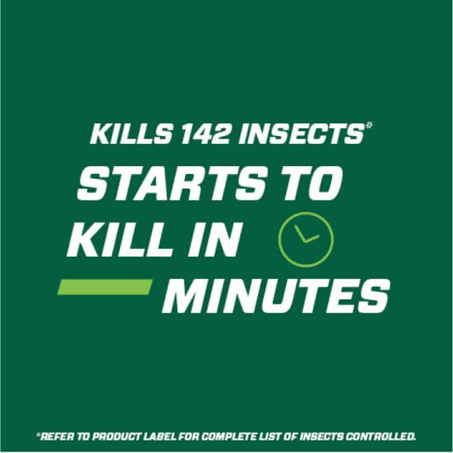 Kills 142 insects. Starts to kill in minutes (refer to product label for complete list of insects controlled)