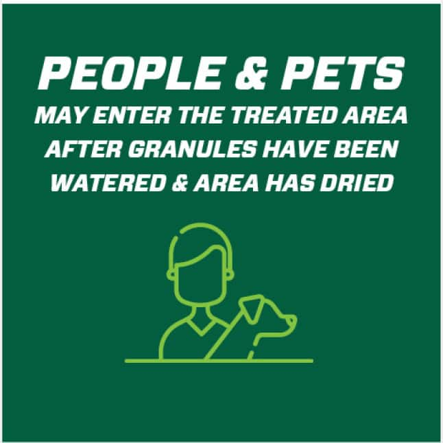 People and pets may enter the treated area after granules have been watered and area has dried.