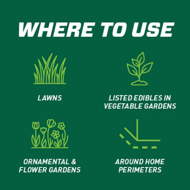 Use on lawns, ornamentals, vegetable gardens and around home foundations (see product label for listed edibles).