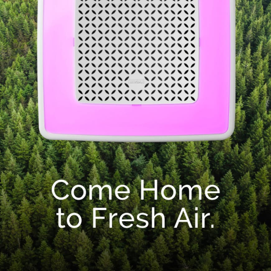 Image of a ChromaComfort with Sensonic Speaker grille in pink light mode with trees behind it. Words over image say: Come home to Fresh Air.