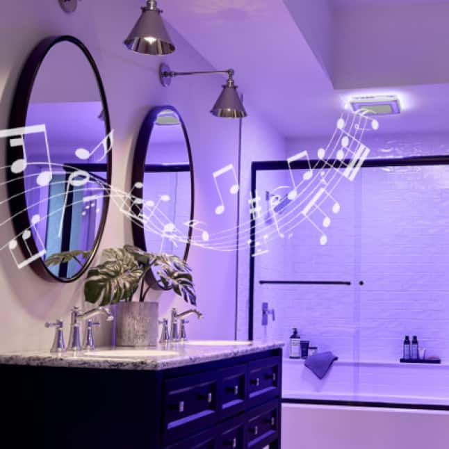 Image of ChromaComfort in a modern bathroom in purple-light mode with music notes coming out to represent the Bluetooth speaker