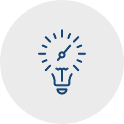 Icon of a lightbulb with the bulb that looks like an analog clock face to represent the control over the light and sound that creates the mood.