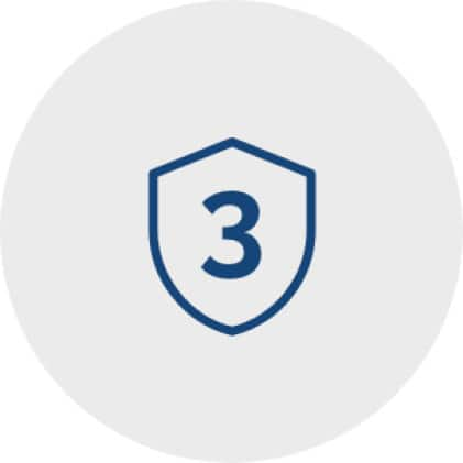 Icon of a protection shield with the numeral three inside it to represent a 3-year warranty.