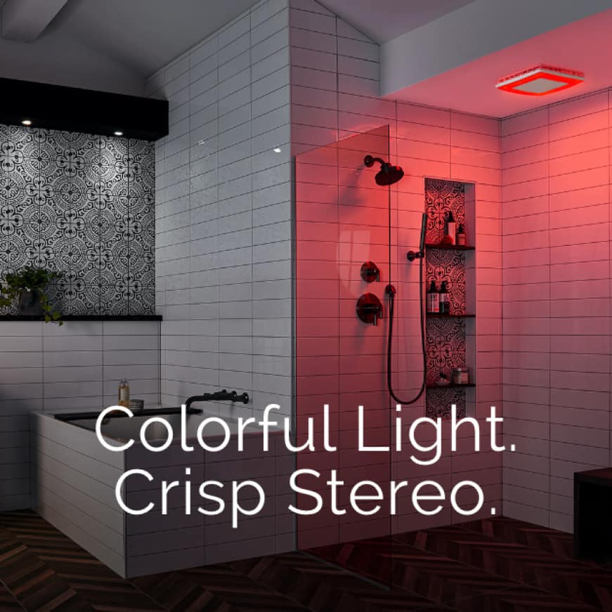 Image of a the ChromaComfort fan cover in red light mode in a modern bathroom with words over it that say: Colorful Light. Crisp Stereo.
