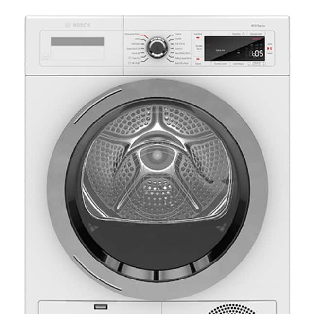 Front view of Bosch 800 Series Bosch Compact Dryer with Chrome Door Ring