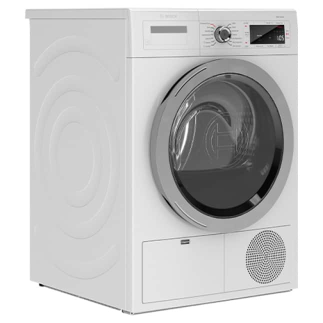 Side view of Bosch 800 Series Compact Dryer with noise reduction
