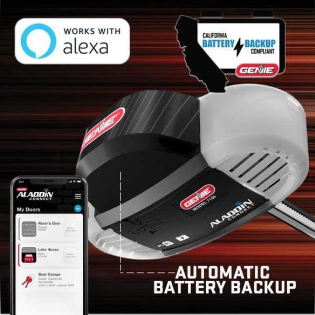 Genie 7155D Garage Door Opener battery backup