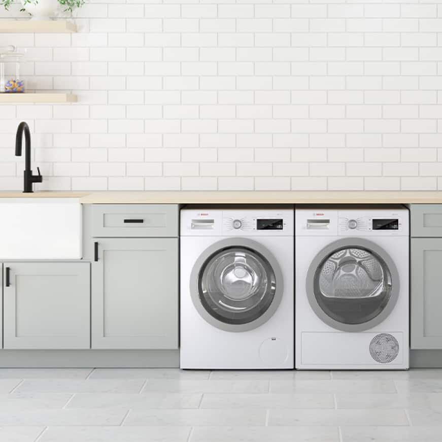 Bosch 800 Series compact laundry set installed side-by-side