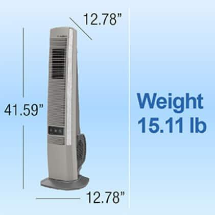 Lightweight tower fan, weighing 15.11 lb.