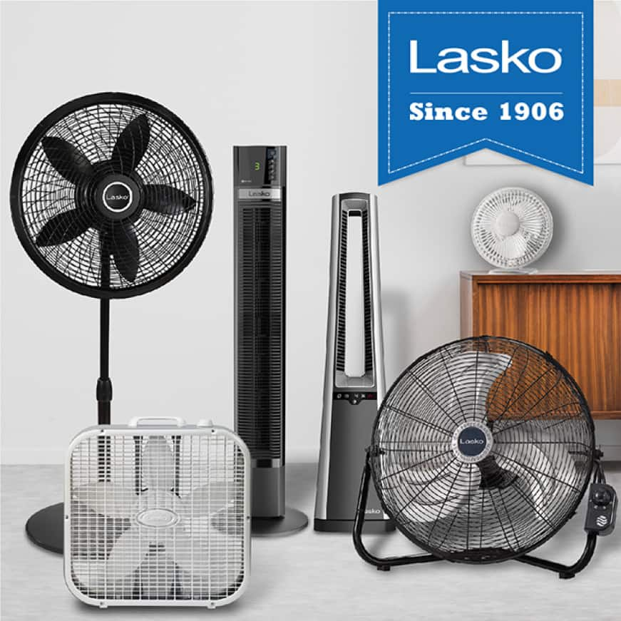 Lasko standing fans, tower fans, floor fans, wall mount fans and box fans offer innovation and safety