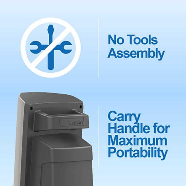 Portable outdoor fan with a built-in carry handle and  easy no tools assembly