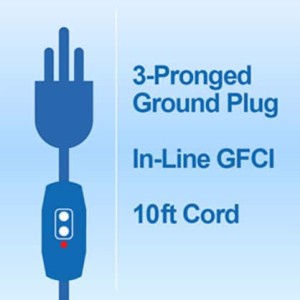 Outdoor fan equipped with 3-Prong Grounded Plug, In-Line GFCI and a 10 ft. cord