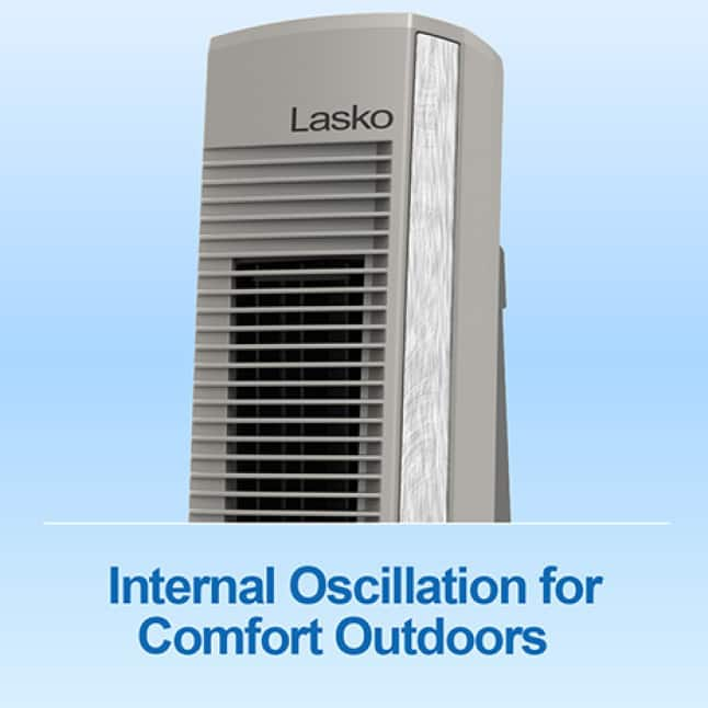 Tower fan with internal oscillation for comfort outdoors