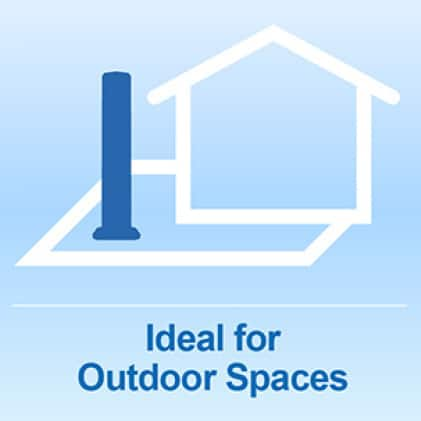 Tower fan ideal for outdoor spaces