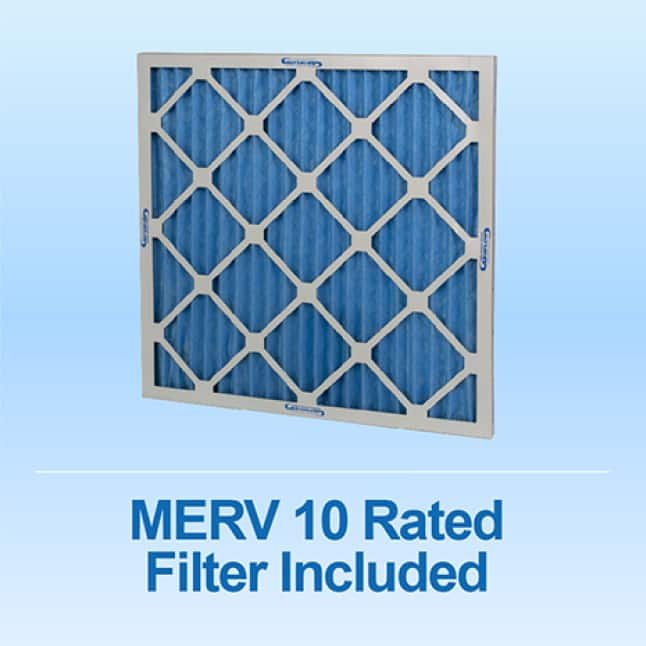 The box fan and air purifier works with any standard 20 x 20 x 1-inch Filter