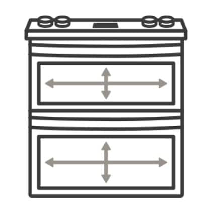 An icon of the appliance. Arrows measure its internal capacity.