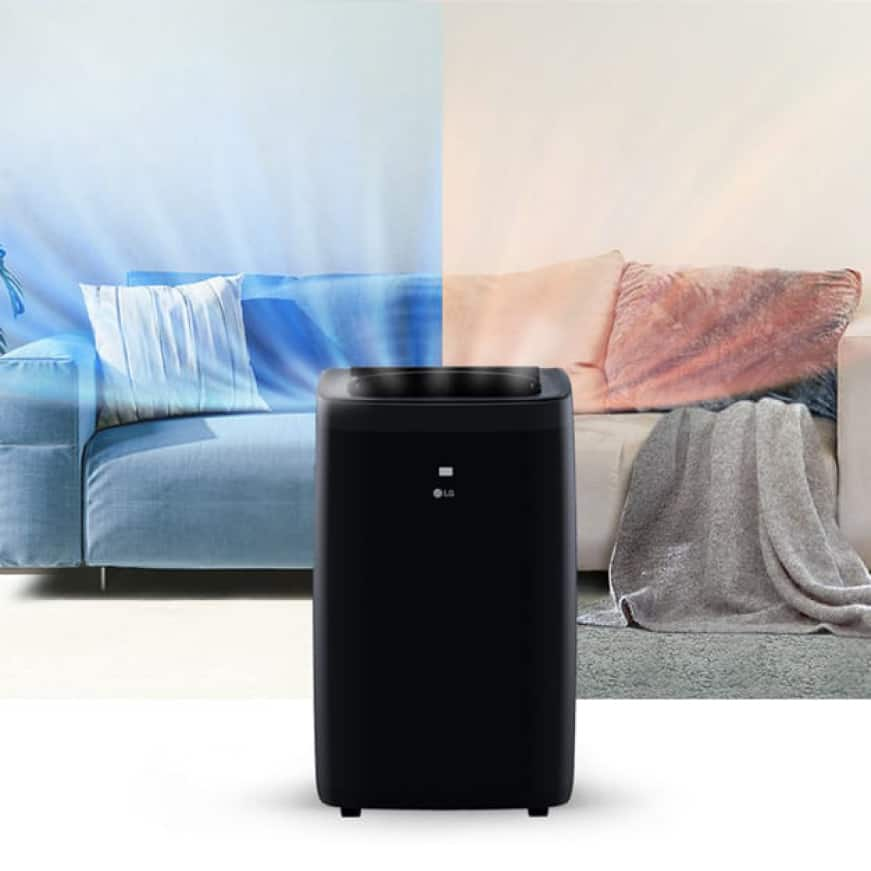 Portable air conditioner showing cool air flow on one side and warm air flow on the other in a room with a sofa