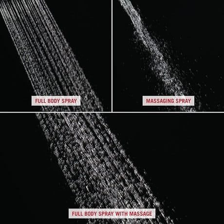 Image depicts up-close water images of the three different spray settings