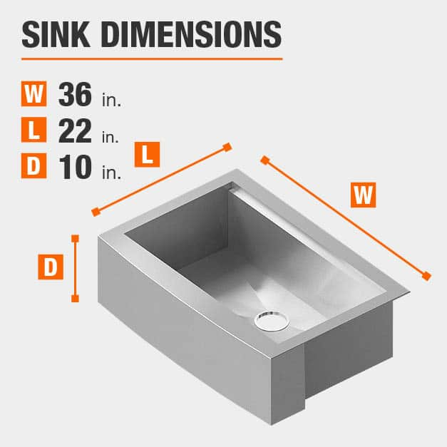 Sink Dimensions Width=36 inches Length=22 inches Depth=10 inches