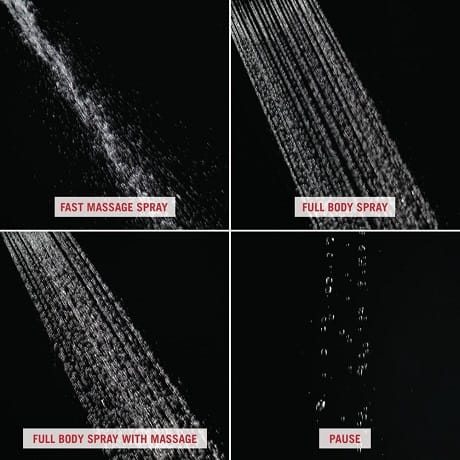 Image depicts up-close water images of the four different spray settings