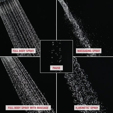 Image depicts up-close water images of the five different spray settings