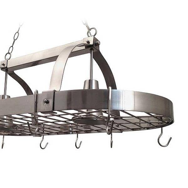 Pot rack featuring 10 strong hooks for organizing pots
