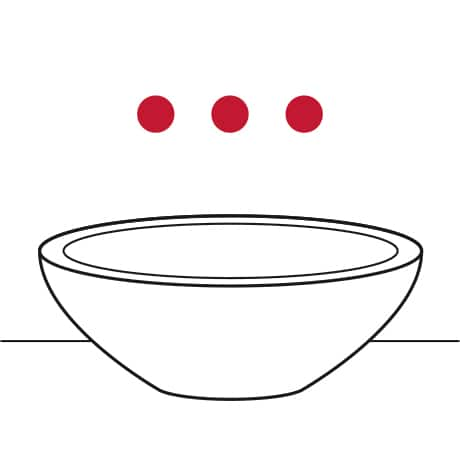 Image is a line drawing of a vessel sink with three holes on the wall highlighted in red to indicate 3-hole, wall-mounted installation