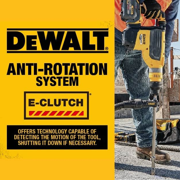 DEWALT E-Clutch Anti-Rotation system detects motion of the tool, shuts it down in bind up situations and helps to minimize sudden torque reaction.