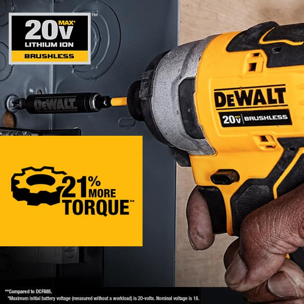The ATOMIC Compact Brushless Impact Driver features a high performance brushless motor that delivers 1700 in. lbs. of torque.