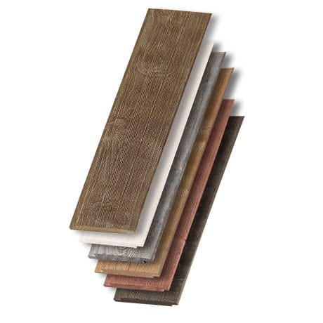 A stack of all of the colors avalible in the barnwood shiplap collection