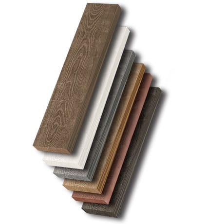 A stack of all of the colors avalible in the barnwood shiplap trim board collection