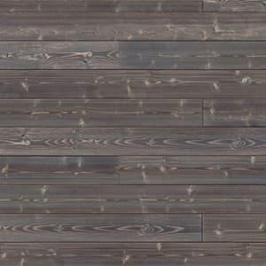 Swatch image of a dark brown charred wood shiplap board