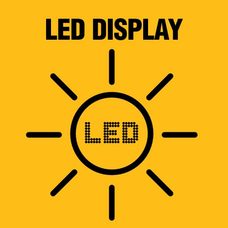 Three bright LED displays state of charge and remaining charge.
