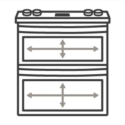 An icon of the appliance with arrows measure its capacity