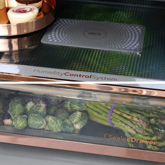 Fresh foods sit inside the humidity-controlled drawer