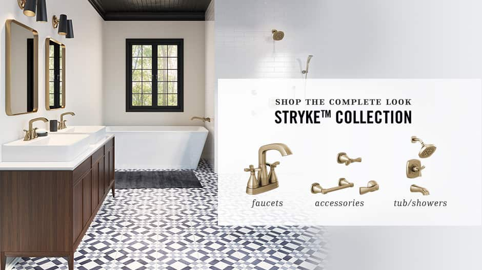 Image depicts a bathroom scene with various other Stryke collection bathroom accessories, faucets, and showers.