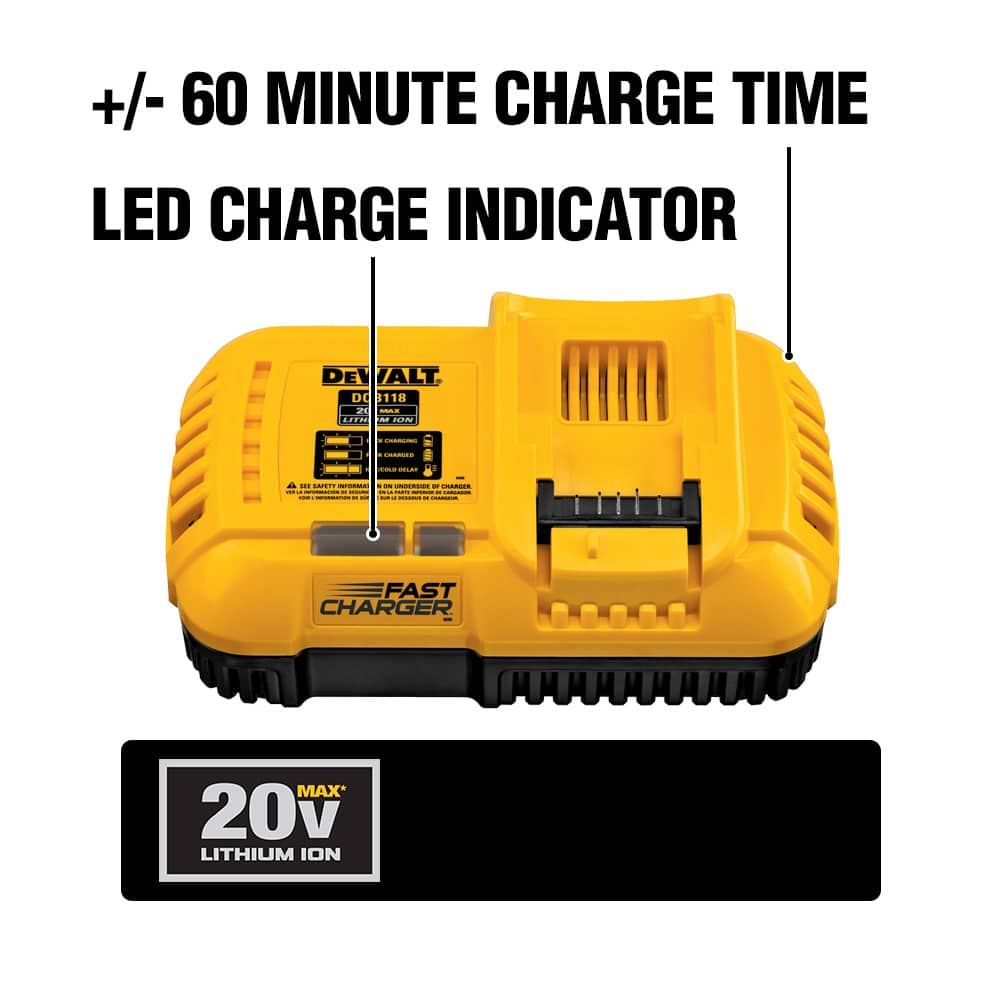 The DCB118 is fan-cooled for fast charging. Compatibile with 20V MAX and FLEXVOLT battery packs with a one hour charge for a DCB606 FLEXVOLT battery.