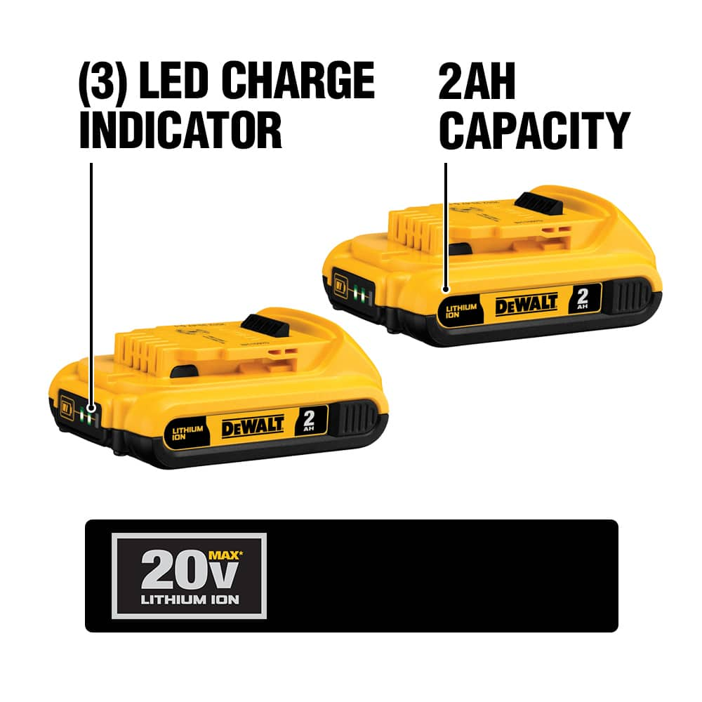 DCB203 20V MAX Compact Lithium Ion Batteries are compatible with the complete line of DEWALT 20V MAX tools and accessories.