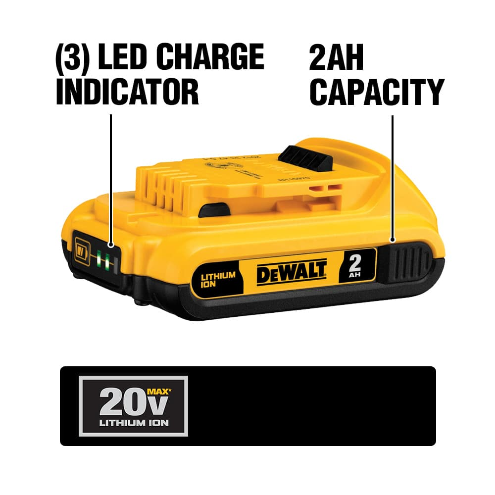 The DCB203 Compact 20 VOLT Lithium Ion Battery pack has a 3-LED fuel gauge and 45 min. charge time.